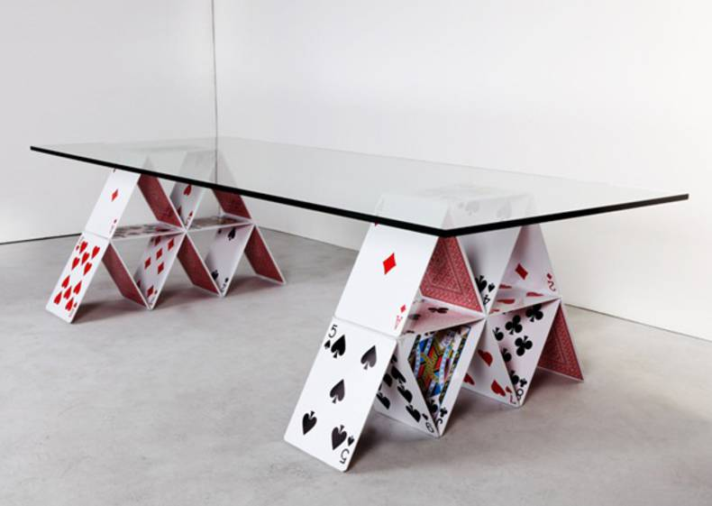 Unique House of Cards Table by Mauricio Arruda