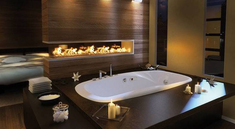 Elegant Master Bathroom Idea with Built-In Fireplace by Pearl