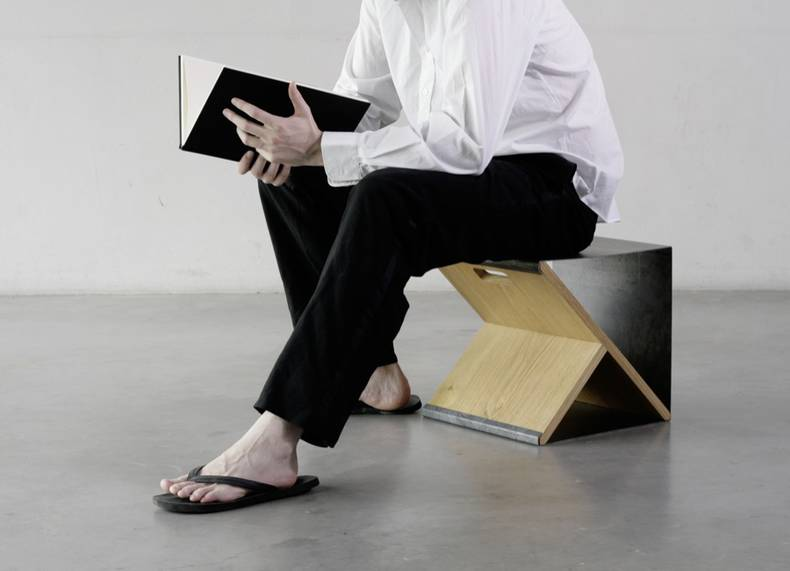 Steel Stool/Shelving by Noon Studio