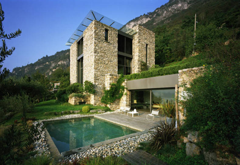 Italian Stone House Design on Lake Como