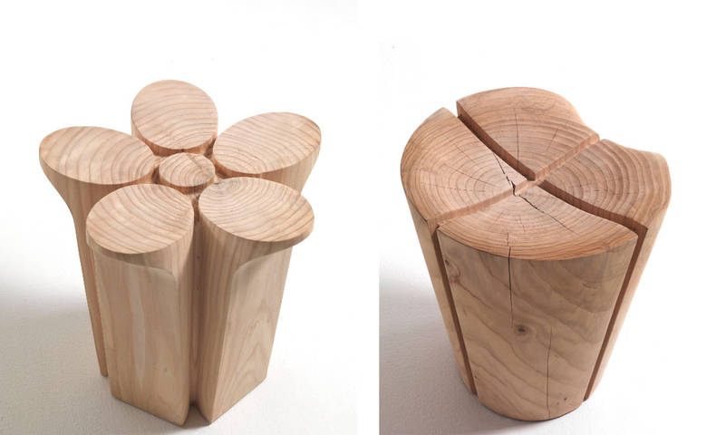 Two Solid Wood Stools from Riva 1920