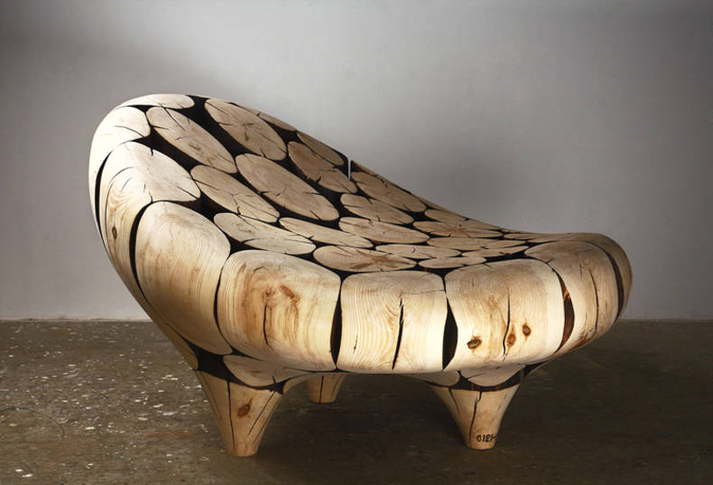 Lee Jae-Hyo's Chairs and Armchairs Made of Wood Logs