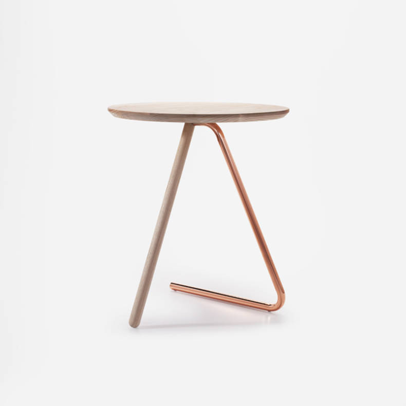 '<3 Side Table' with Two Legs by Jonathan Sabine