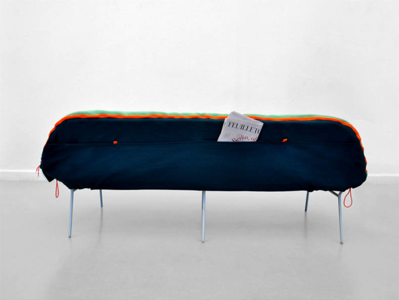 Portable Sofa with Integrated Sleeping Bag by Stephanie Hornig
