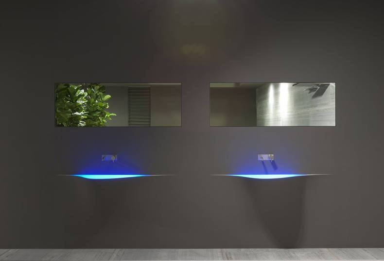 Futuristic Wash basin Integrated into the Wall: by Antonio Lupi