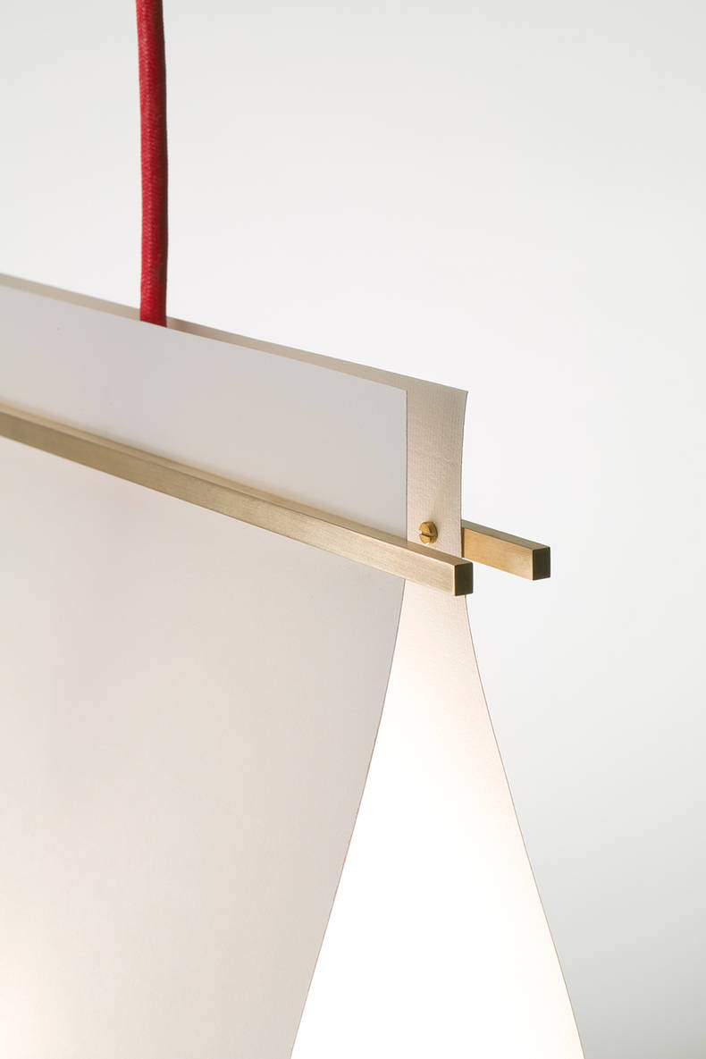To Roll up and Fasten: pendant Lamp by Yoshiyuki Hibino