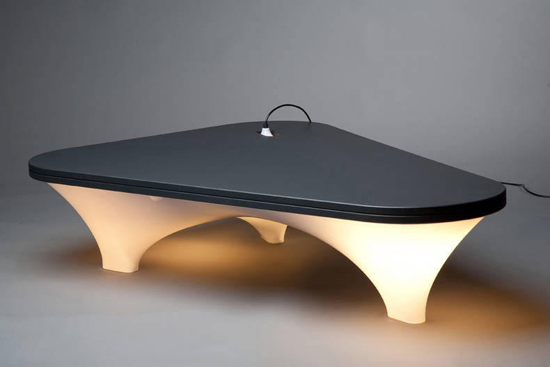 Stylish Plastic Illuminated Table by Han Koning
