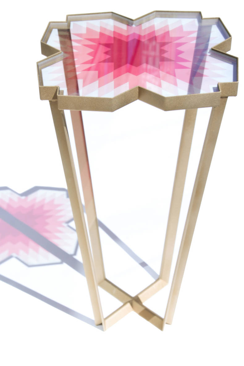 'Echo Table' of Glass by Debra Folz Design Studio