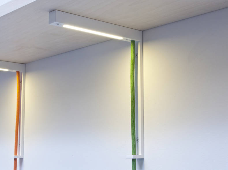 'Lightbracked' Shelving System with Lighting Unit by Alexandra Burr and Allen Slamic
